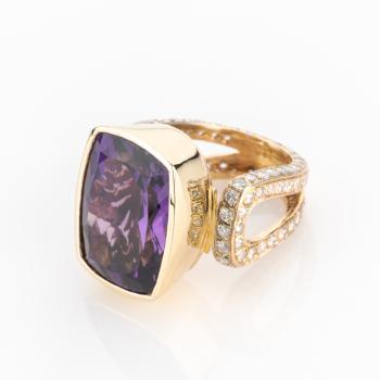 Spektakulärer Damenring (585er Gold) mit Amethyst und Brillanten