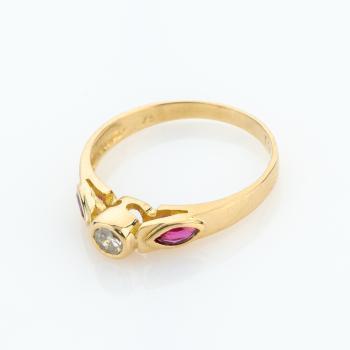 Damenring (750er Gold) mit Brillant und Rubinen