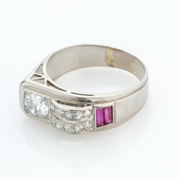 Damenring (Platin) mit Diamanten und Rubinen